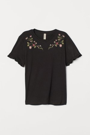 Embroidered T-shirt - Black
