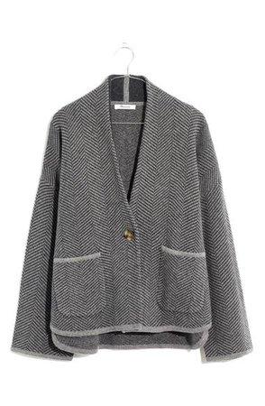 Madewell Herringbone Crop Sweater Jacket   Nordstrom
