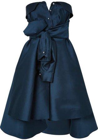 Bow-detailed Embellished Duchesse-satin Mini Dress - Navy