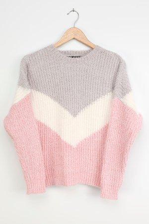 Color Block Sweater - Chevron Sweater - Grey Sweater - Lulus