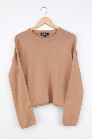 Cut Tan Sweater - Pullover Sweater - Knit Sweater