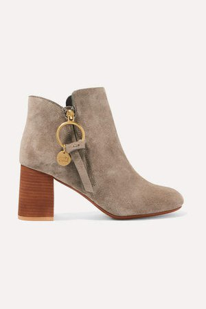 Suede Ankle Boots - Taupe