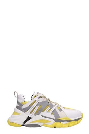 Ash White And Yellow Leather Flash Sneakers