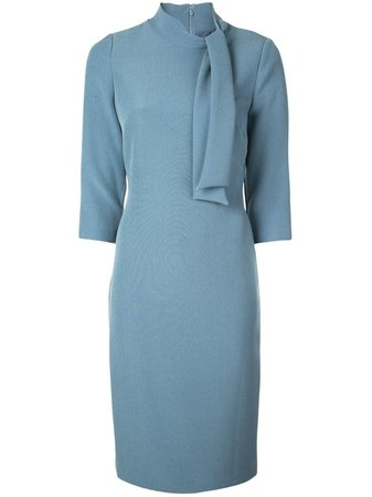 Badgley Mischka Tie-neck Fitted Midi Dress - Farfetch