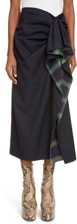 Plaid Trim Drape Skirt