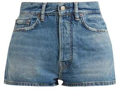 Mid Rise Denim Shorts - Womens - Indigo