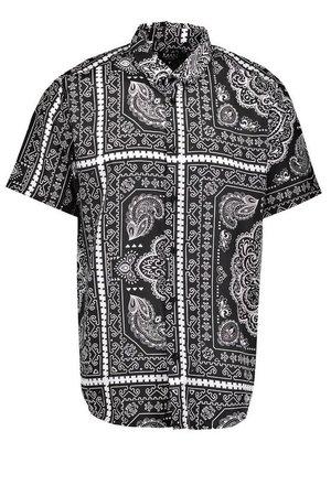 Short Sleeve Collared Bandana Print Shirt   Boohoo
