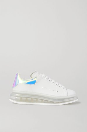 White Iridescent-trimmed leather exaggerated-sole sneakers | Alexander McQueen | NET-A-PORTER