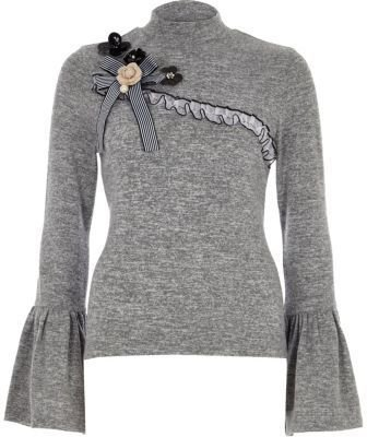 River Island Womens Grey high neck frill sleeve embellished top