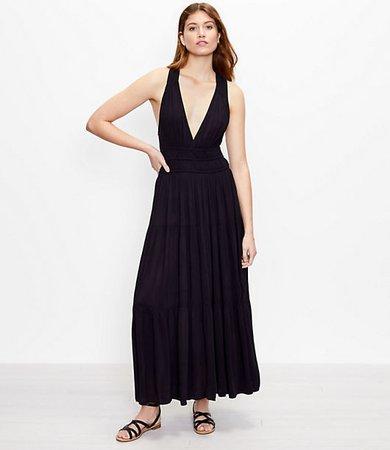 Beach Tiered Halter Maxi Dress