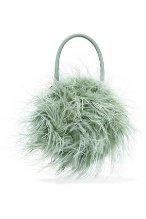 Loeffler Randall | Zadie feather-embellished leather tote | NET-A-PORTER.COM
