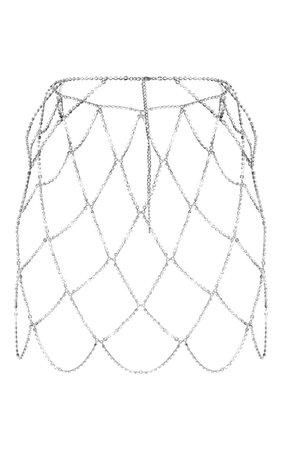 Silver Diamante Body Jewellery Skirt | Skirts | PrettyLittleThing