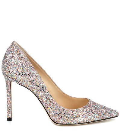 Jimmy Choo - Romy 100 glitter pumps | Mytheresa