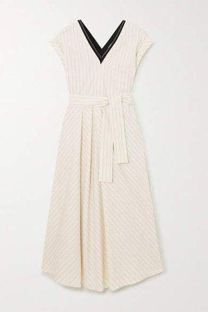 Bead-embellished Pinstriped Stretch-cotton Poplin Midi Dress - Ivory