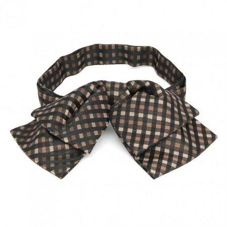 Light Brown Plaid Floppy Bow Tie