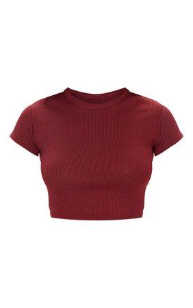 Burgundy Rib Crop T Shirt | Tops | PrettyLittleThing USA