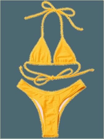 Halter Cheeky Bikini Set SUN YELLOW: Bikinis M | ZAFUL