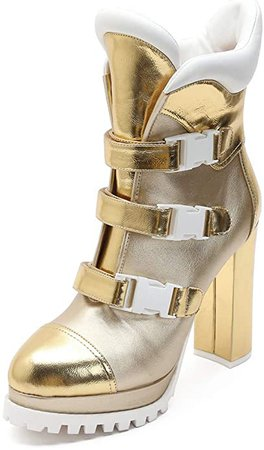 Amazon.com | MACKIN J 585-3 Women's Platform Ankle Boots Chunky High Heel Round Toe Boots (6, Silver) | Ankle & Bootie