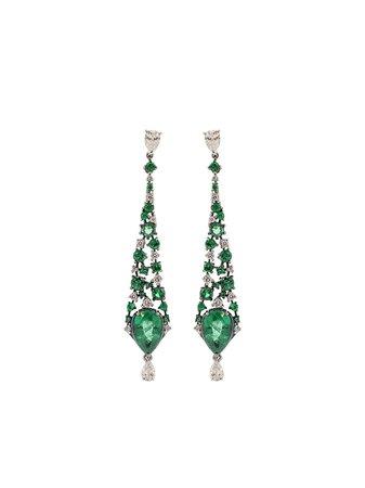 MARIANI 18kt white gold diamond emerald drop earrings - Farfetch