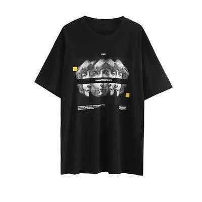 black t-shirt with faces