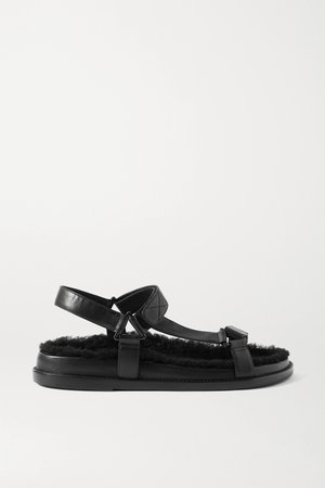 Black Shearling-lined leather sandals | Porte & Paire | NET-A-PORTER