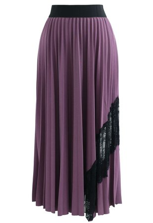 Lace Inserted Pleated Maxi Skirt in Violet - Retro, Indie and Unique Fashion