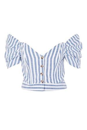 Striped Puff Sleeve Bardot Top | Topshop