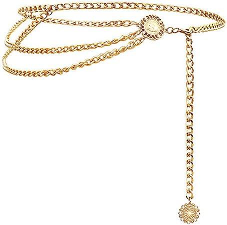Glamorstar Multilayer Metal Waist Chain Dress Belts Metal Belt for Women Gold 90CM/35.8IN at Amazon Women's Clothing store