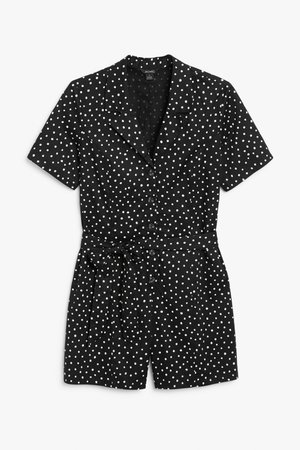 Cotton playsuit - Black and white polka dots - Playsuits - Monki WW