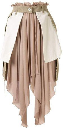 asymmetric distressed panelled skirt