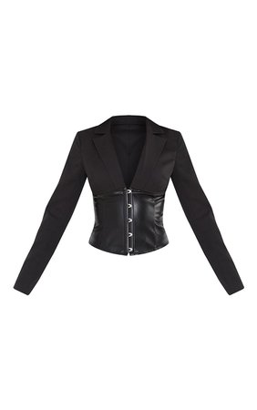 *clipped by @luci-her*  Black Woven PU Corset Waist Blouse   PrettyLittleThing USA