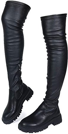 Amazon.com | CELNEPHO Womens Wedge Platform Over The Knee Boots Chunky High Heel Side-Zip Lace-Up Motorcycle Riding Boots Combat Boots for Women | Knee-High