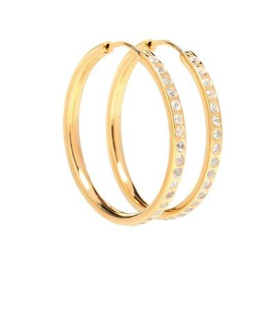 White Sapphire Pave Hoop Earrings - THEODORA WARRE | Mytheresa