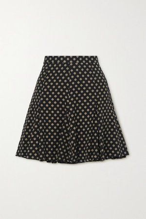 Printed Twill Mini Skirt - Black