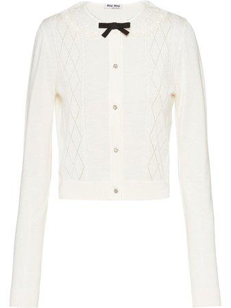 Miu Miu Lace-Collar Cropped Cardigan Aw20 | Farfetch.Com