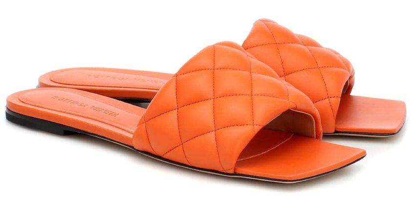 Bottega Veneta Orange Flat Sandals