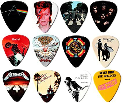 Premium Plectrums - 24 Classic Album Covers on 12 Double-Sided Guitar Picks: Amazon.co.uk: Musical Instruments