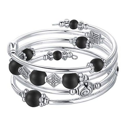 Amazon.com: Beaded Pearl Bangle Wrap Bracelet - Fashion Bohemian Jewelry Multilayer Charm Bracelet with Thick Silver Metal Beads, Gift for Women and Girls (Matte Black): Jewelry