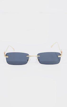 Gold Frame Black Lens Butterfly Sunglasses   PrettyLittleThing