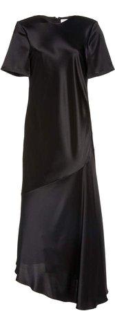 Deveaux Ophelia Asymmetric Satin Dress