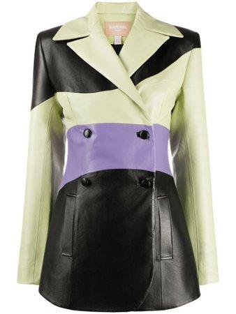 Matériel Panelled Faux-Leather Blazer MR2LAM17289BZMUL Black   Farfetch