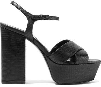 Farrah Lizard-effect Leather Platform Sandals - Black