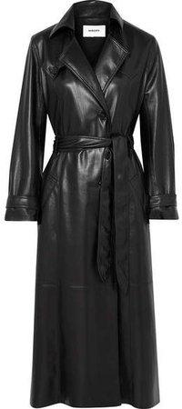 Chiara Vegan Leather Trench Coat - Black