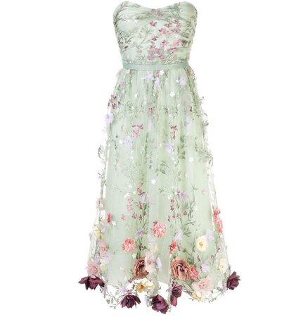pastel green floral designer dress