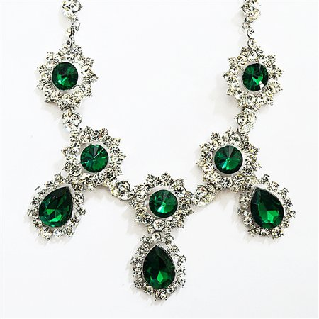Sparkly Drop Necklace - silver crystal bib necklace in emerald green