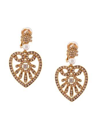 Oscar De La Renta Heart Drop Earrings - Farfetch