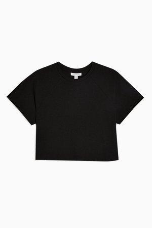 PETITE Black Raglan Crop T-Shirt | Topshop
