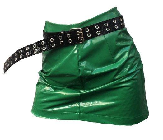green vinyl skirt