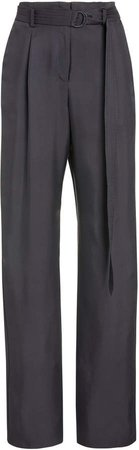 Sally LaPointe Silk Twill High-Waisted Pants