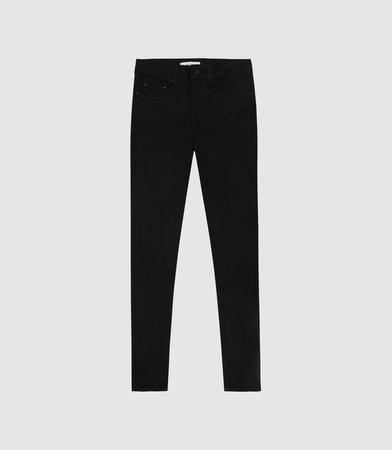 Lux Black Mid Rise Skinny Jeans – REISS